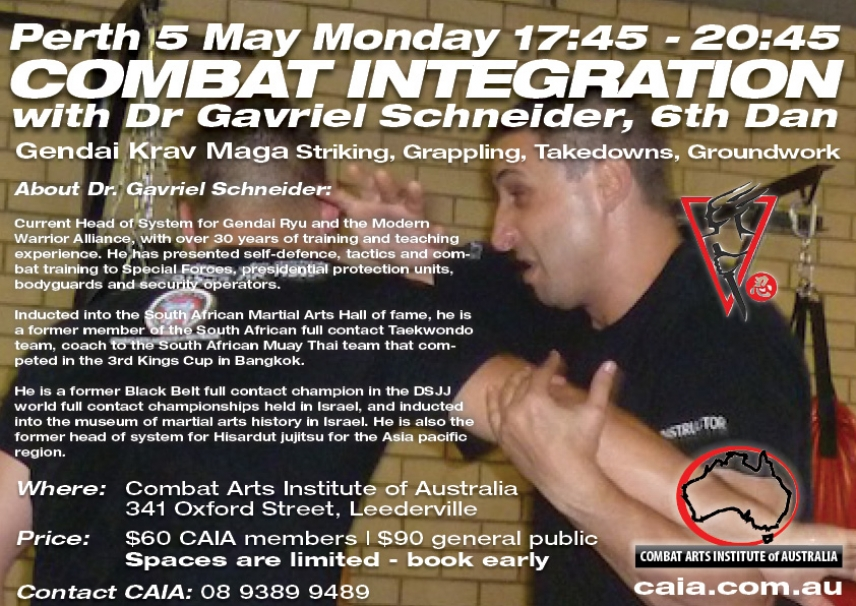 Monday May 5th Gendai Krav Maga Integration Workshop